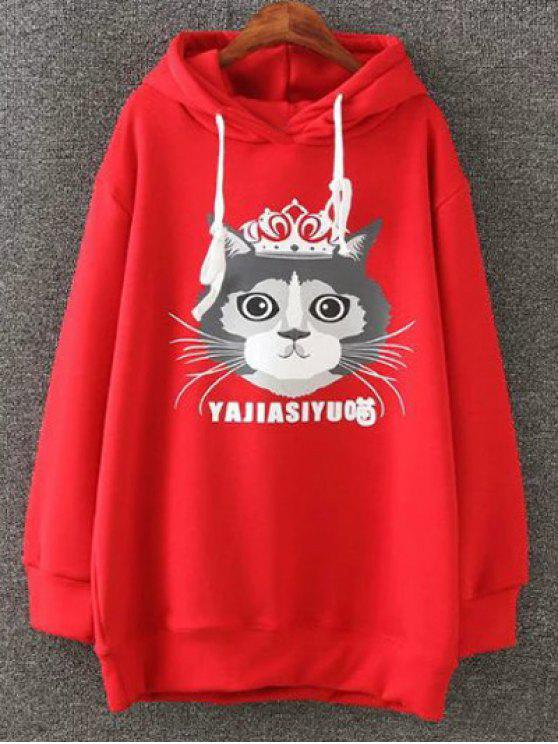 women's Plus Size Fleece Cartoon Cat Print Hoodie - RED 3XL