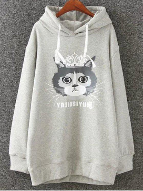 online Plus Size Fleece Cartoon Cat Print Hoodie - LIGHT GRAY 3XL