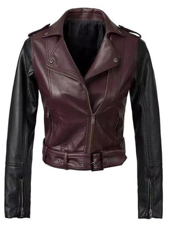 chic Color Block PU Leather Zippered Biker Jacket - WINE RED S