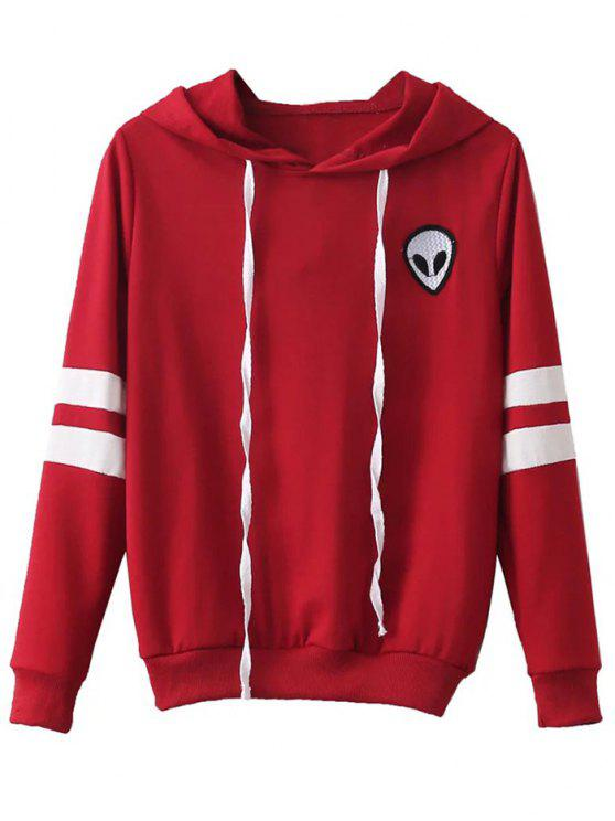 ladies Striped Classic Hoodie - RED L