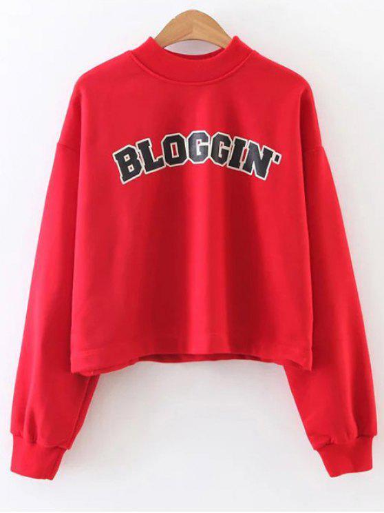 Mock Neck Graphic recadrée Sweatshirt - Rouge L