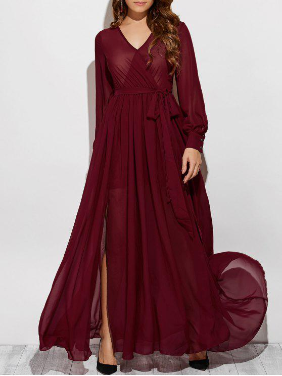 ea39ab9dba 30% OFF  2019 See-Through Slit V Neck Long Sleeve Maxi Dress In WINE ...