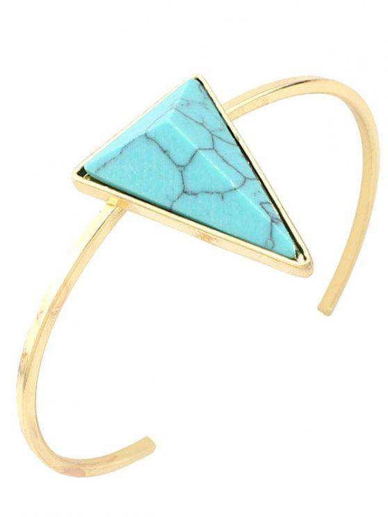 women Faux Turquoise Triangle Cuff Bracelet - GREEN
