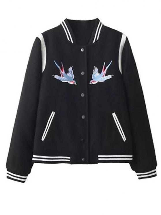best Snap Button Embroidered Baseball Jacket - BLACK L