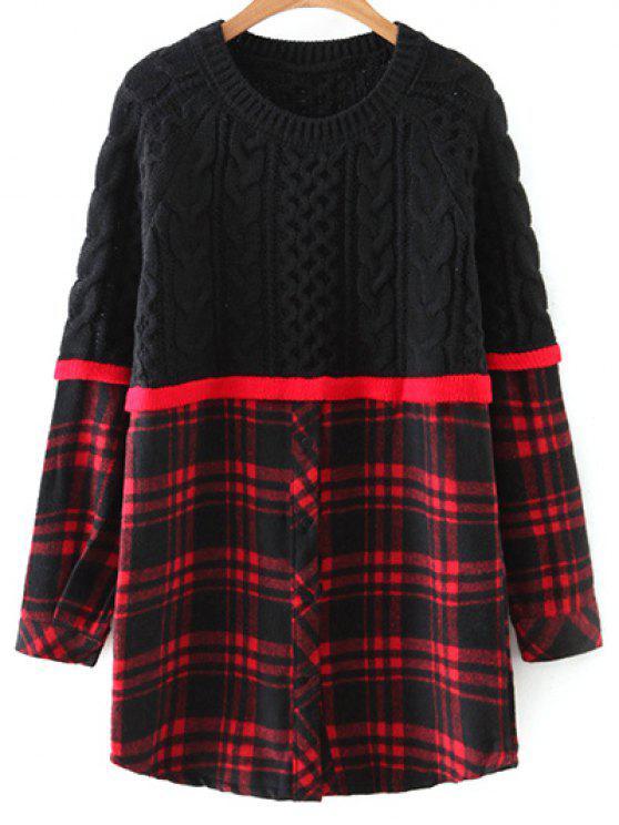 Pull en tricot torsadé avec empiècement à motif carreaux - Rouge et Noir TAILLE MOYENNE