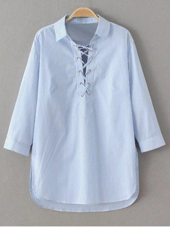 affordable Long Sleeve Striped Lace Up Blouse - BLUE AND WHITE S