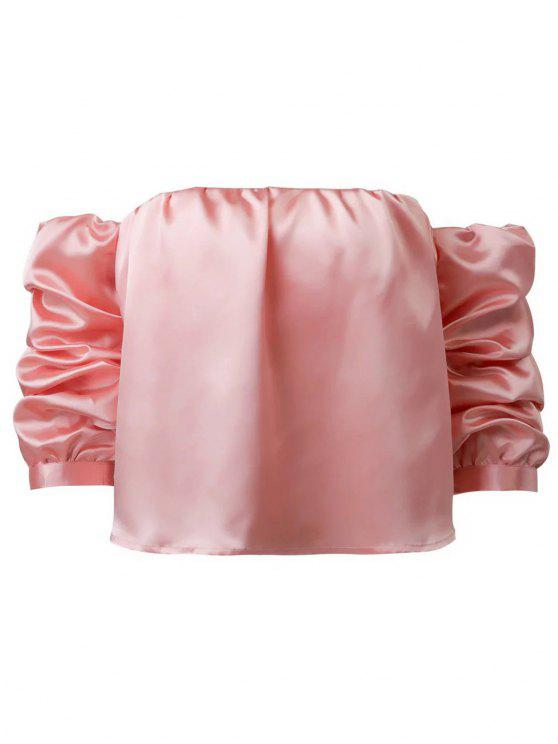 ladies Puff Sleeve Off The Shoulder Blouse - PINK M