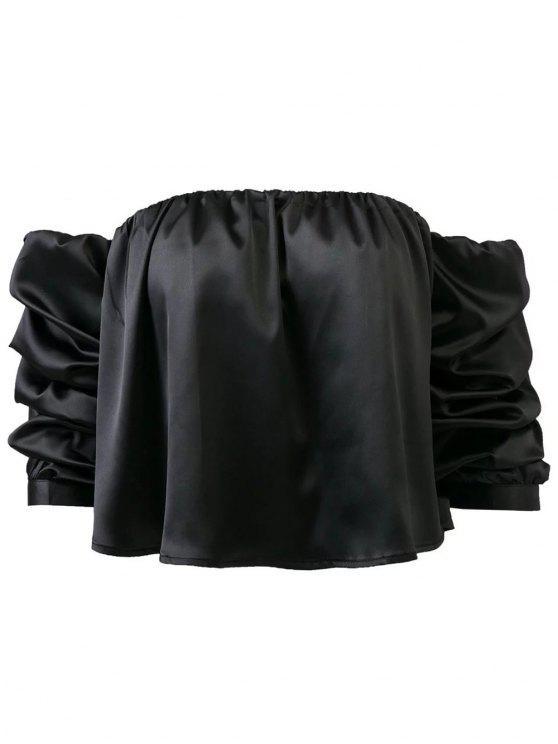 Puff manga de la blusa del hombro Off The - Negro S