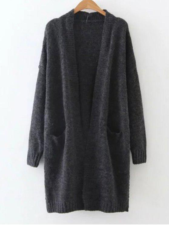 affordable Longline Pocket Cardigan - BLACK ONE SIZE