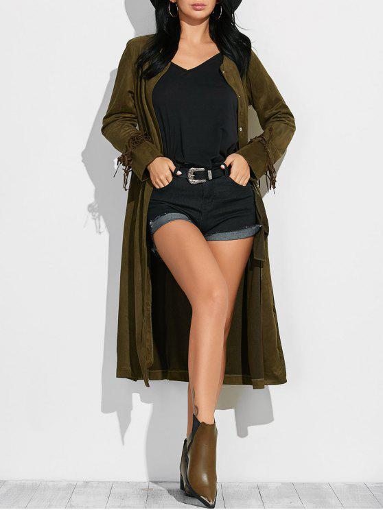 women Fringe Suede Maxi Coat - ARMY GREEN M