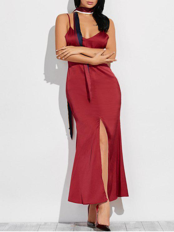 Cami vestido maxi de alta Furcal - Vino Rojo S