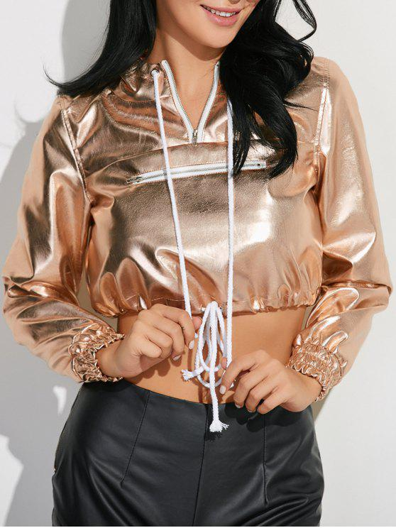 hot Metallic Color Pullover Hoodie - CHAMPAGNE 2XL