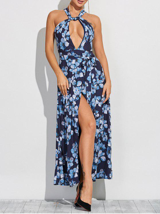womens Floral Print Twist Neck Maxi Dress - BLUE S
