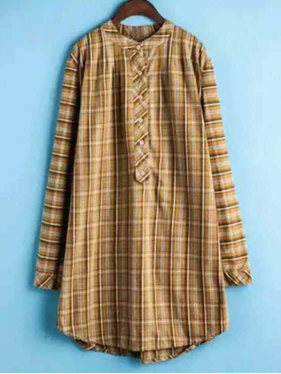 trendy Plaid Buttoned Long Sleeve Dress - YELLOW 2XL