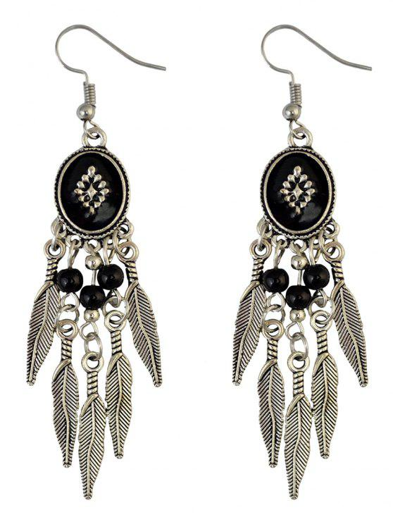Unique Bohemian Fringe Leaf Beads Chandelier Earrings Black