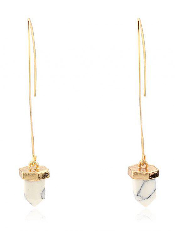 ladies Artificial Turquoise Bullet Earrings - WHITE