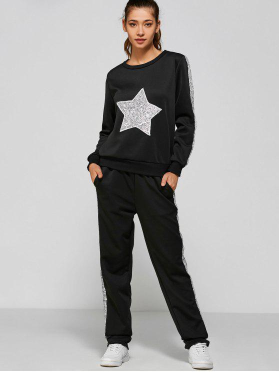 Slivery Star Sequin  Sweatshirt with Side Patchy Pants - Nero L