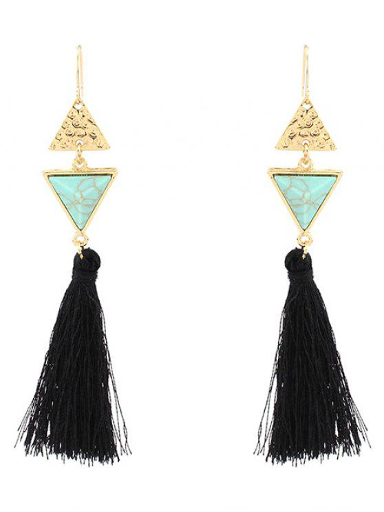 online Artificial Turquoise Tassel Triangle Earrings - GREEN