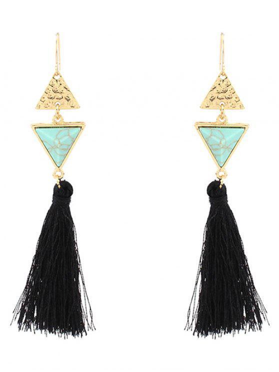 online Artificial Turquoise Tassel Triangle Earrings - GREEN