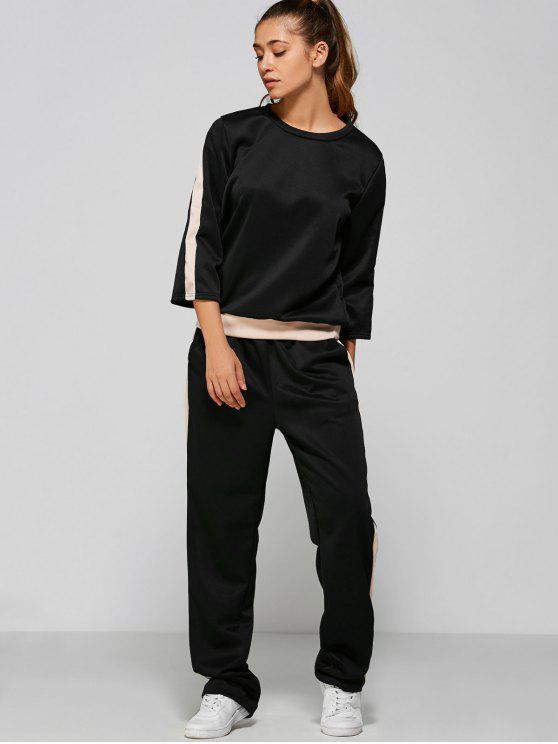 fashion Loose Sweatshirt and High Waisted Pants - BLACK M