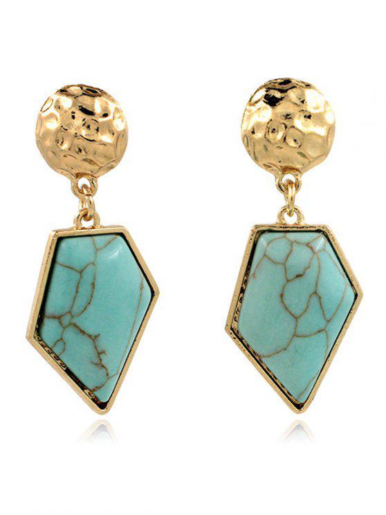Boucles d'oreilles géométriques asymétriques en turquoise artificielle - Vert