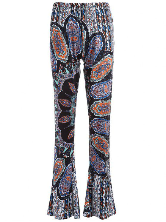 women's Printed Flare Trousers - CYAN AND GREY L
