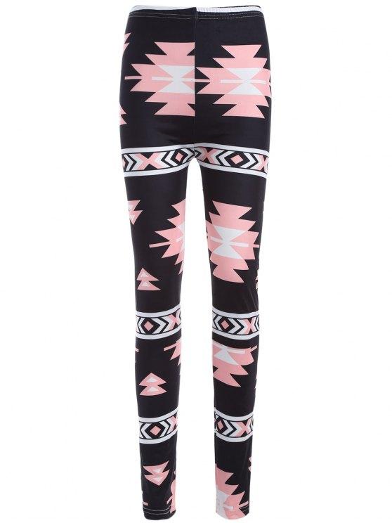 Leggings de yoga moulants imprimés motif coloré - Noir TAILLE MOYENNE