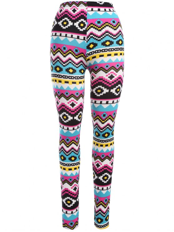 affordable Geometric Print Nordic Leggings - COLORMIX ONE SIZE