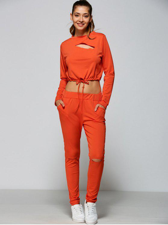 unique Ripped Cropped Sweatshirt and High Waisted Ripped Pants - ORANGE RED L