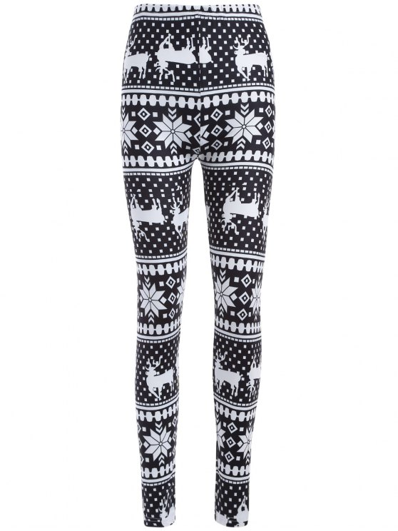 hot christmas deer snowflake print leggings white and black one size - Christmas Print Leggings
