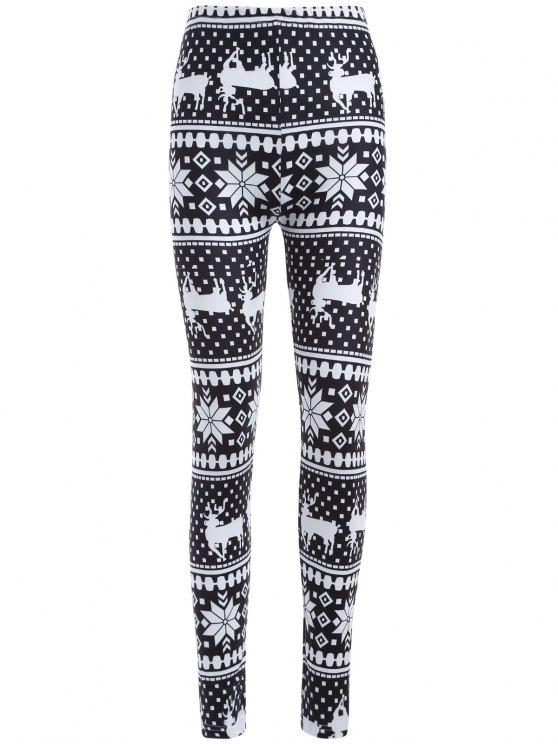 hot Christmas Deer Snowflake Print Leggings - WHITE AND BLACK ONE SIZE