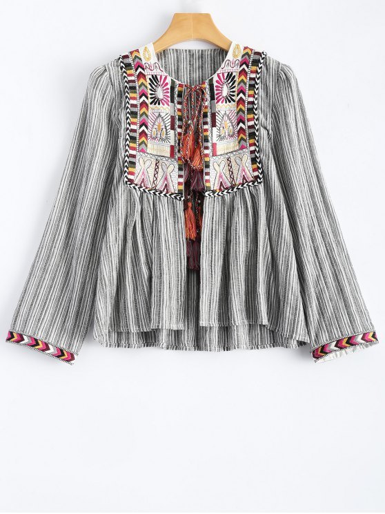 fashion Striped Embroidered Jacket - STRIPE M