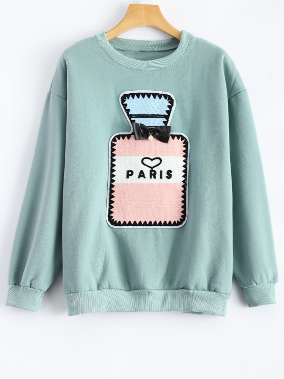 affordable Perfume Bottle Patch Fleece Sweatshirt - MINT GREEN XL