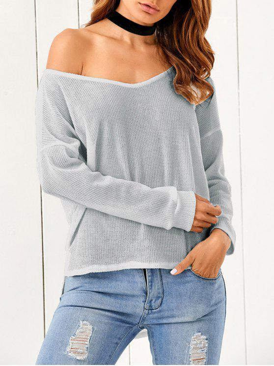 women's Loose One-Shoulder Sweater - GRAY S