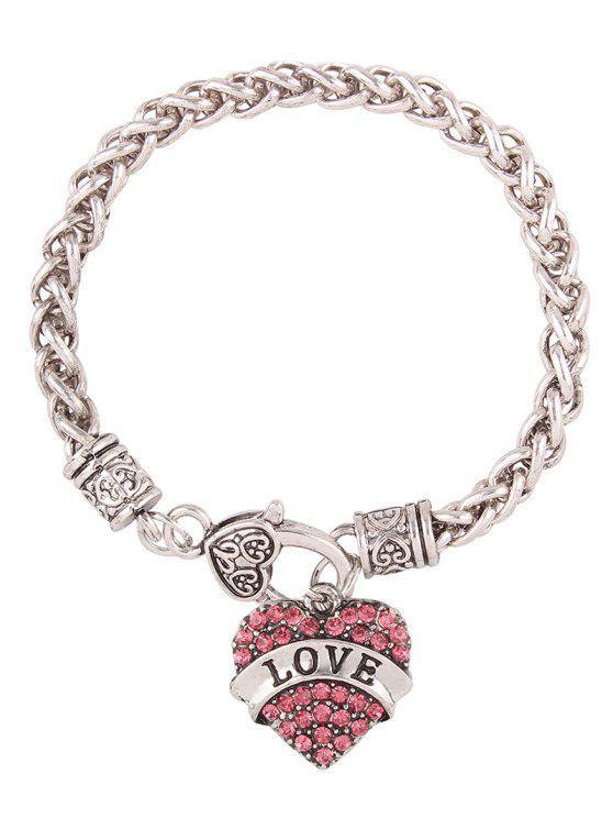 Bracelet en faux diamant avec cœur gravé LOVE - ROSE PÂLE