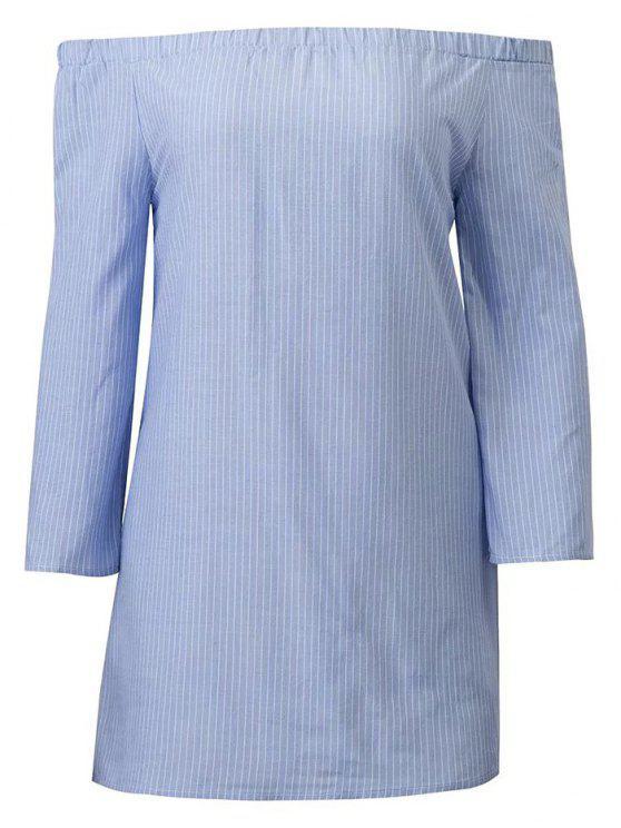 Manches longues Encolure Robe à rayures - Bleu et Blanc M