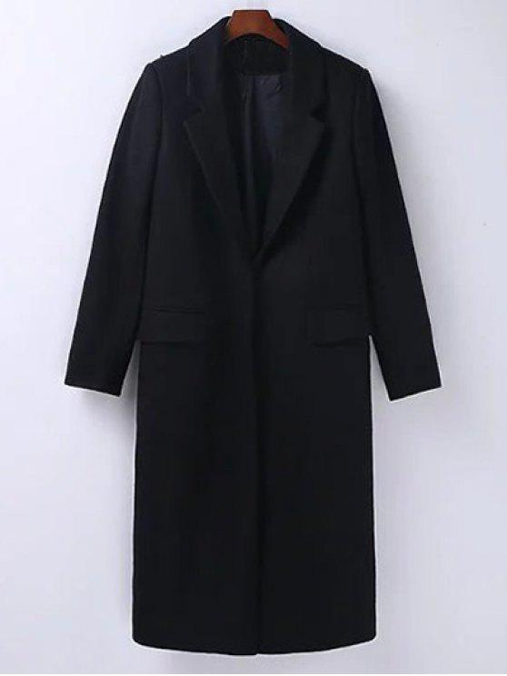 fancy Wool Blend Masculine Coat - BLACK M