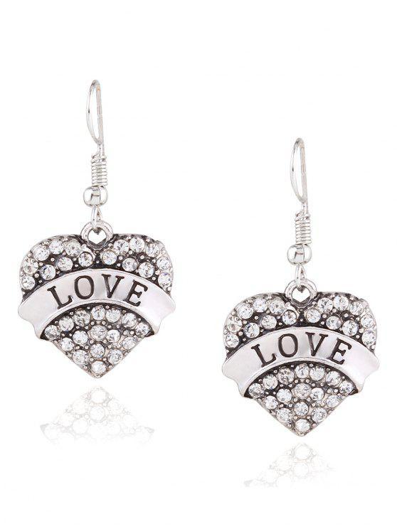 shops Engraved Love Rhinestone Heart Drop Earrings - WHITE