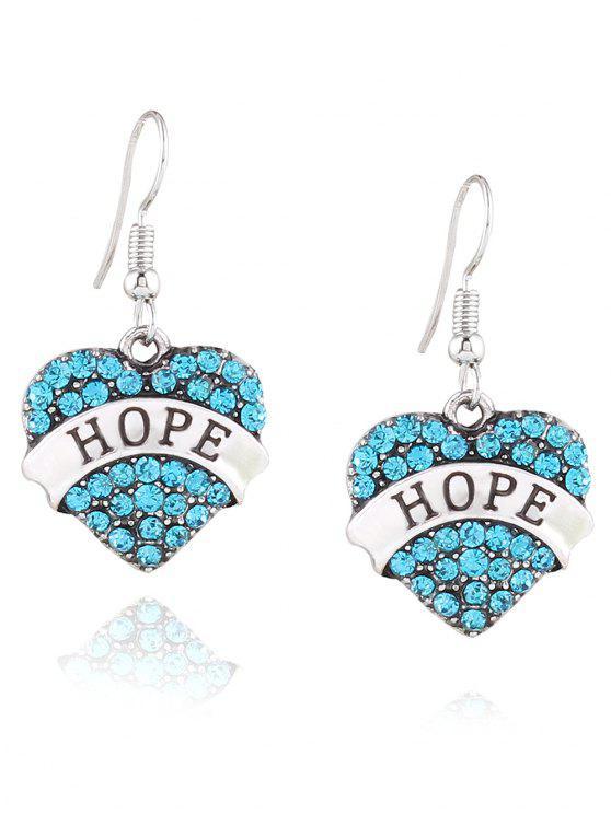 fashion Engraved Hope Rhinestone Heart Drop Earrings - BLUE