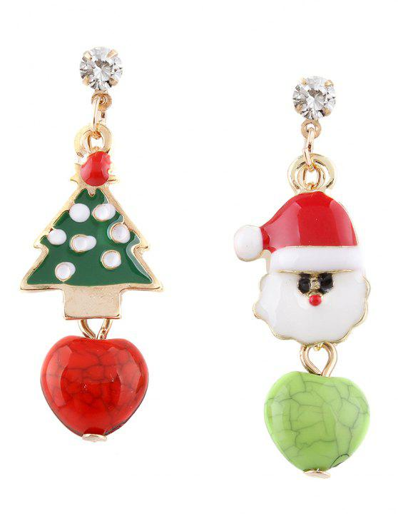 buy Rhinestone Christmas Tree Santa Asymmetric Earrings - COLORMIX