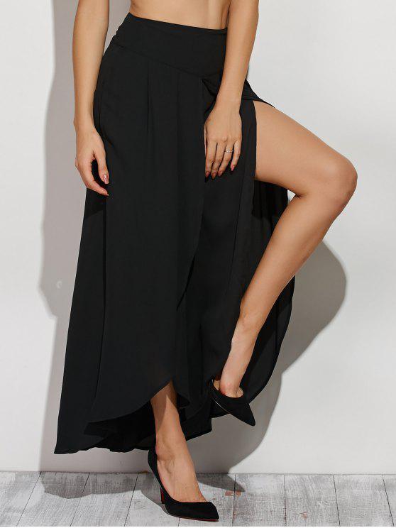 sale High Slit Chiffon Culotte Pants - BLACK L