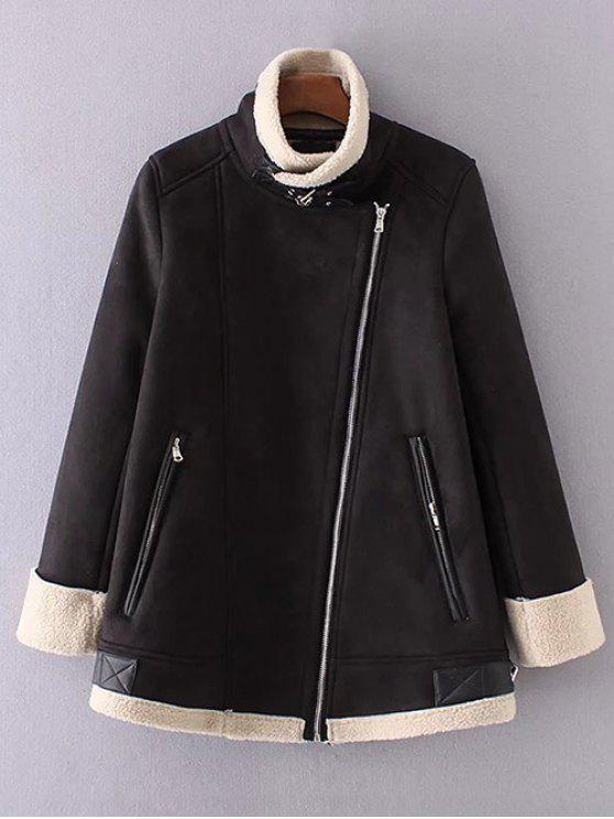 hot Fleece Lining Faux Suede Funnel Coat - BLACK L