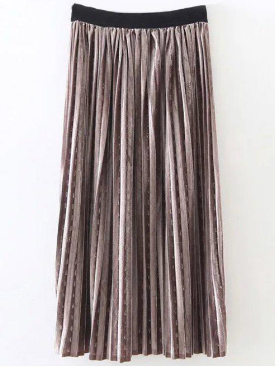 Pleated Velvet Skirt - Gold Brown