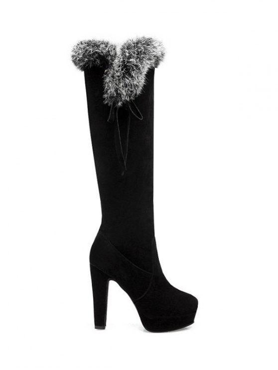 Zipper Plataforma da pele do falso botas até o joelho - Preto 38