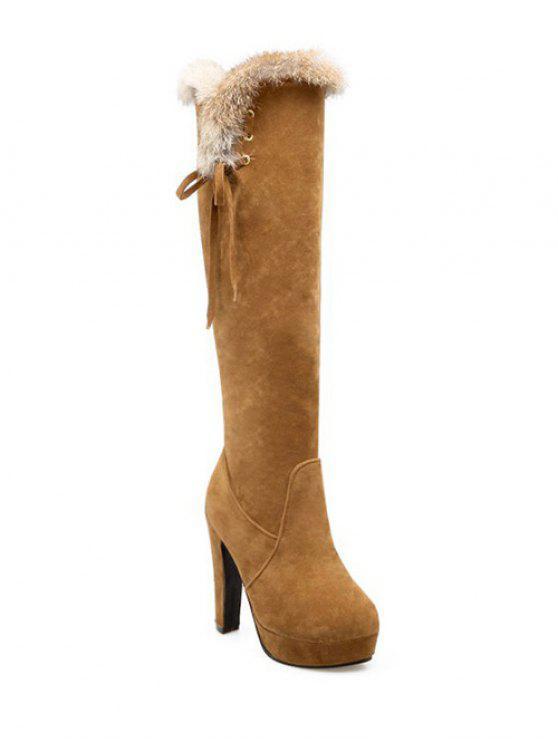 Zipper Plataforma da pele do falso botas até o joelho - Marrom Claro 39