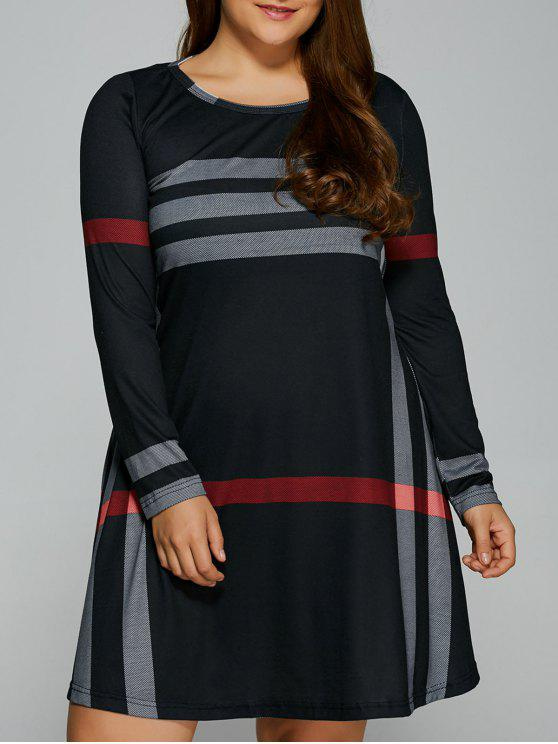 fancy Vertical Plus Size Striped Tee Dress - BLACK 4XL
