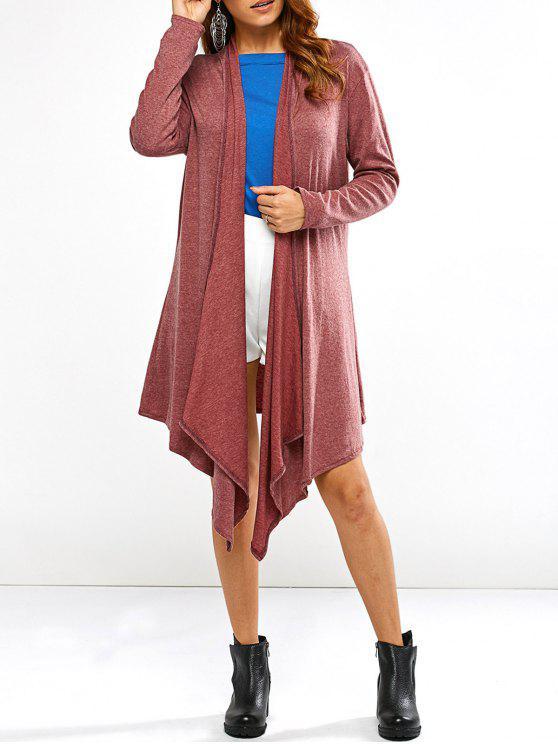Cardigan asymétrique avec devant drapé - Rouge Foncé M