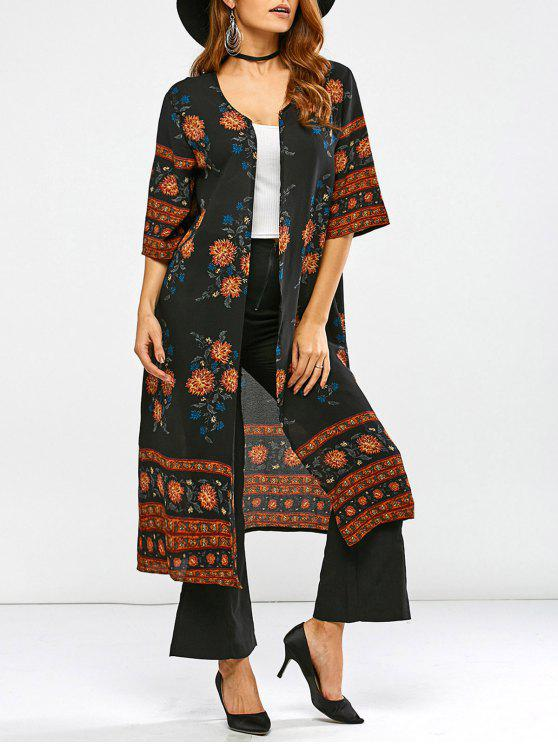 outfits Retro Print Duster Coat - BLACK S