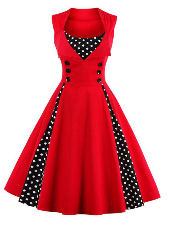 ladies Polka Dot Puffer Midi Dress - RED XL