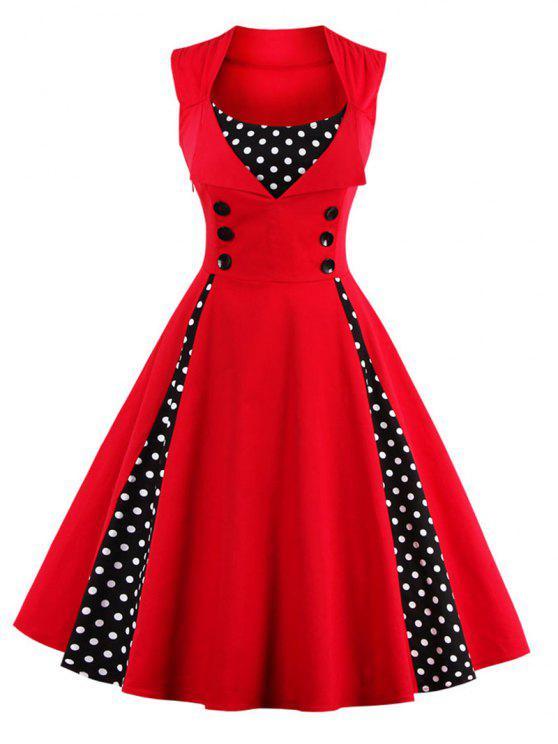 Vestido abotoado retrô embelezado com estampa de bolinhas - Vermelho 2XL